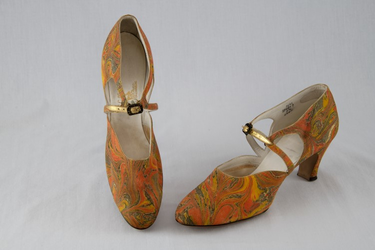 shoes with orange fabric